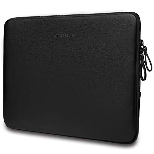 MOSISO Laptop Sleeve Compatible with 13-13.3 Inch MacBook Air/MacBook Pro Retina/2019 2018 Surface Laptop 3/2/Surface Book 2, PU Leather Padded Bag Waterproof Protective Case, Black