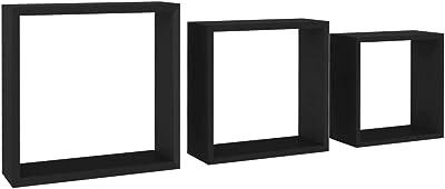Schwarz MDF Wandregal Bücherregal CD Cube Hängeregal vidaXL Würfelregal 3-tlg