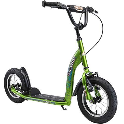 BIKESTAR Roller Kinderroller Tretroller Kickscooter mit Luftreifen für Jungen und Mädchen ab 6-7 Jahre | 12 Zoll Sport Kinder Scooter | Grün
