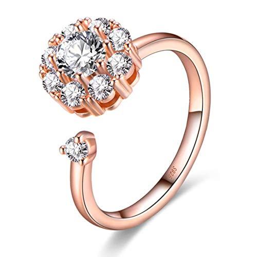 SeniorMar-UK Rotating Ring Female Vibrato With The Same Time Zircon Net Opening Jewelry Magic Simulation Couple Jewelry