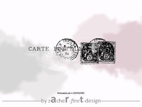 Stempel - Vintage Textstempel CARTE POSTALE I mit altem französischen Poststempel - Shabby chic style - von zAcheR-fineT