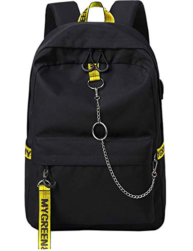 El-fmly Fashion Backpack with USB Charging Port for Travel Lightweight School Bookbags with Cool Letters Strap for Teenage Boys & Kids (Black+Yellow)
