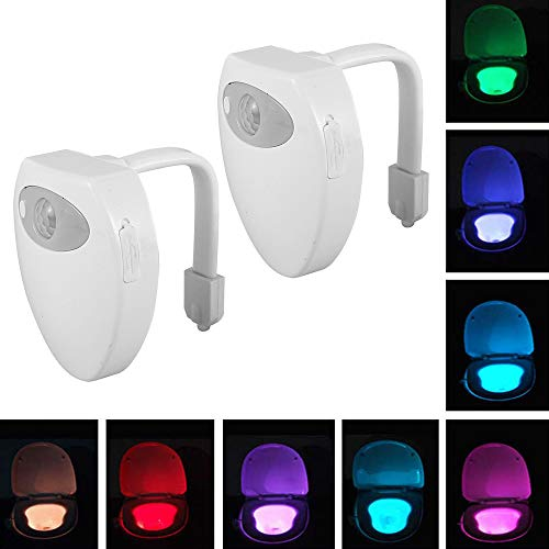 WC Luz Nocturna LED Luz para Inodoro Recargable USB con Detección de Movimiento del Sensor Automático Impermeable 8 Cambio de Color (2 PCS)