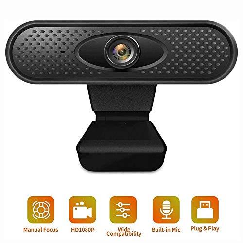 Big Shark Cámara web HD 1080P micrófono, PC de escritorio del ordenador portátil del USB Webcams, Pro cámara Transmisión de ordenador for realizar llamadas de vídeo, grabación, conferencias, juegos, c