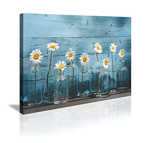 1 Panel Vintage Flower Canvas Wall Art for Home Office Bathroom Decoration Modern Floral Canvas...