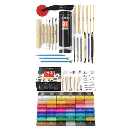 ARTEZA 폴리머 클레이 키트 42 도자기 도구 및 점토 조각 도구 22 세트 아티스트 취미 화가 및 초보자를위한 미술 용품