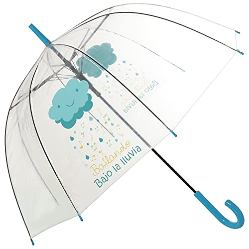 TIENDA EURASIA® Paraguas Transparente - Diseño Original Lluvia Musical - Frase Bailando Bajo la Lluvia - Apertura Automática - ø85x84cm