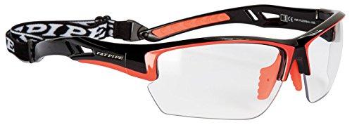 Gafas protectoras para floorball y unihockey JUNIOR | FAT PIPE | Color: negro/orange | Con certificado IFF de calidad