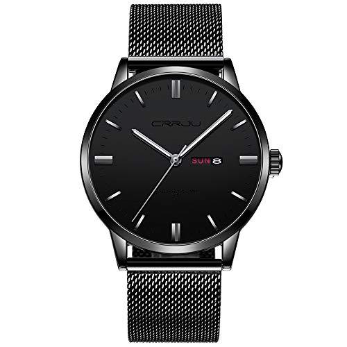 YIBOKANG Balanzas de Tiras Casuales de Negocios para Hombres Dos Veces Calendario Cinturón de Malla de Acero Inoxidable 30M Reloj de Cuarzo Impermeable Moda Moda Moda Reloj Casual
