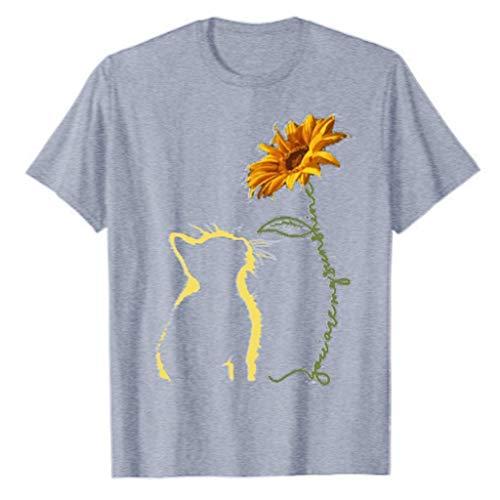 Luckycat Camisetas Niña Manga Corta Retro tee T Shirt Gato Impresión T-Shirt Regalo Camisa Verano Camisetas y Tops