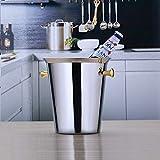 YAeele Cubos de hielo Europea de acero inoxidable de oro del oído 5L cubo de hielo for las Partes/del vino, cócteles y bebidas climatizado Jardín