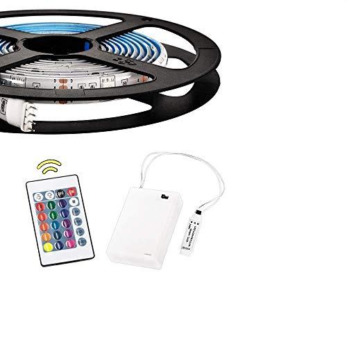 2 m batteriebetriebene RGB-LED-Lichtbänder Flexible Lichtschlauchbeleuchtung mit Batterie-Netzteil und 24 Tasten RF-Fernbedienung