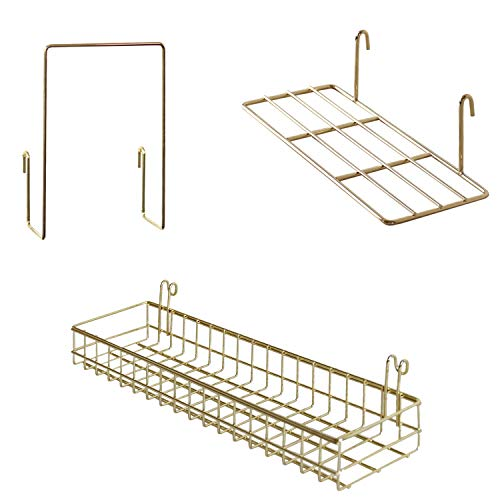 FRIADE Gold Grid Basket with HooksBookshelfDisplay Shelf for Wall Grid PanelWall Mount Organizer and Storage Shelf Rack for Home Supplies1 Set of 3 Gold