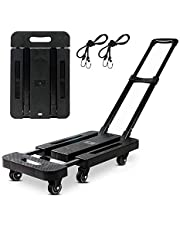 Folding Hand Truck- Folding Trolley Platform Cart-360 Rotating Wheel-for Luggage, Travel, Shopping, Auto, Moving and Office Use