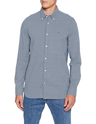 Tommy Hilfiger Herren Slim Micro Print Twill Shirt Hemd, Flint Blue/White, L