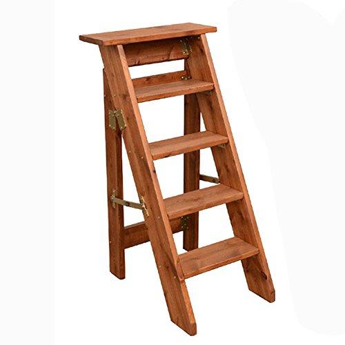 JXXDDQ 5 échelles échelle Tabouret ménage en Bois Massif échelle échelle Chaise Pliante Double Usage Tabouret intérieur échelle échelle Fleur Stand (Color : Coffee Color)