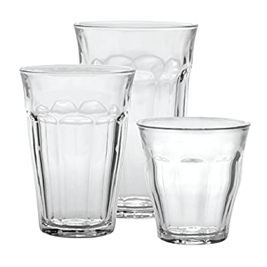 Duralex CC1/18  Made In France Picardie 18-Piece Clear Drinking Glasses & Tumbler Set: Set includes: (6) 8-3/4 oz, (6) 12 -5/8 oz, (6) 16-7/8 oz