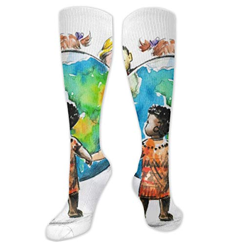 Children Around The World Around The Globe Socks Fun Socks Men's Over-The-Calf Socks Women Best Graduated Athletic Running Customized
