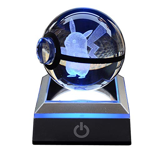 S-SO Crystal Ball Bedroom Bedside Table Light, USB LED 7 Color Change Night Light for Kids, 6CM Bigger Ball, Touch Button
