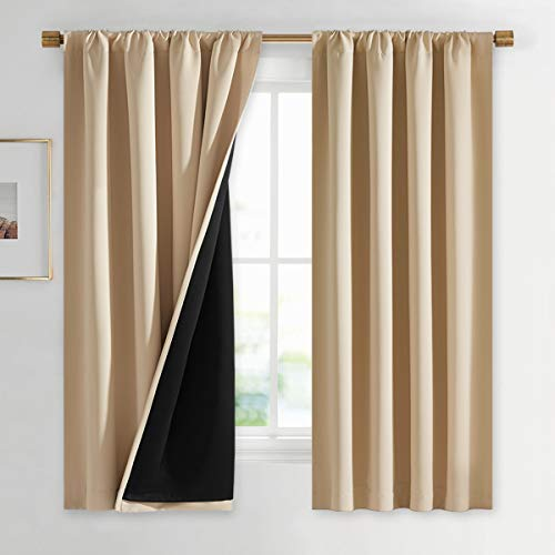 NICETOWN Bedroom Full Blackout Curtain Panels, Super Thick Insulated Window Covers, Rod Pocket Draperies with Black Liner for Short Window (Biscotti Beige, Set of 2, 42 by 63-inch)