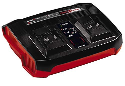 Einhell Original Ladegerät Power X-Twincharger 3A Power X-Change (Li-Ion, 18V, gleichzeitiges Laden von 2x 18V Akkus, permanente Akkuüberwachung + int. Lademanagement, 6-fache Zustands-LED-Anzeige)