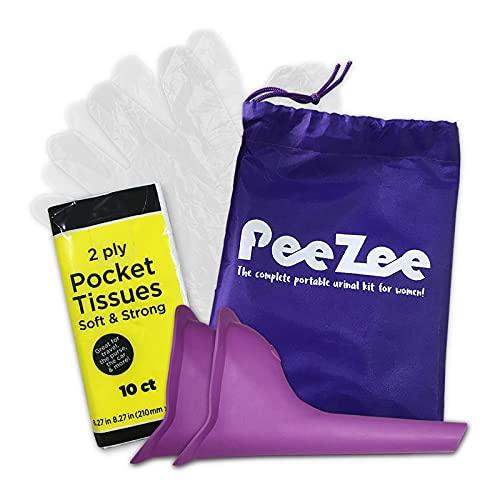 BRAMBLE! 2 Urinarios Portátiles para Mujeres - con Pañuelos de Papel, Guantes y Bolsa