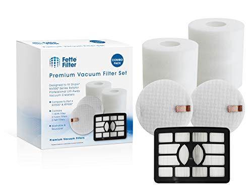 Fette Filter - Foam Vacuum Filters Compatible with Shark Rotator Professional Lift-Away NV500, NV501, NV502, NV505, NV510, NV552, UV560. Compare to # XHF500 & XFF500. (1 Hepa 2 Foam)
