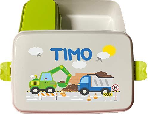wolga-kreativ Brotdose Bio grüner Bagger mit Obsteinsatz für Jungen Lunchbox Bento Box personalisiert Brotbüchse Brotdosen Kindergarten Schule mit Namen Bedruckt