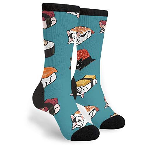 Women's Men's Sushi Frenchie Funny Novelty Dress Socks - Casual Crew Socks