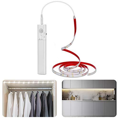 Tira de luces LED de 6000 K, luz blanca fría, funciona con pilas, 1,5 m, flexible, iluminación para interior, hogar, cocina, armario [Clase de eficiencia energética A+]