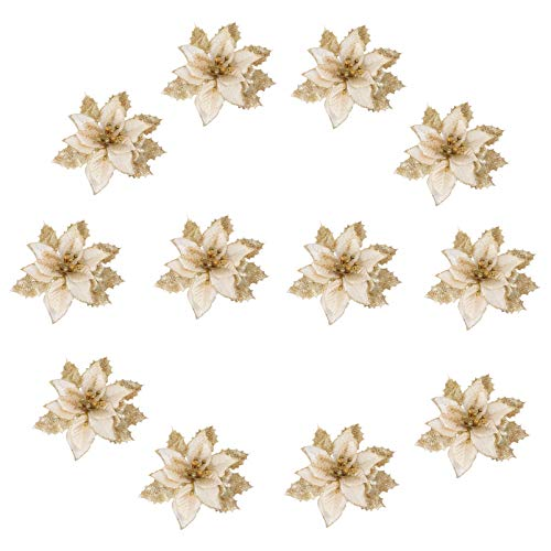 VICASKY 12pcs Golden Glitter Artificial Christmas Poinsettia Flowers Xmas Wreath Flowers Christmas Tree Decoration Ornaments for DIY Crafts Wreath Garland