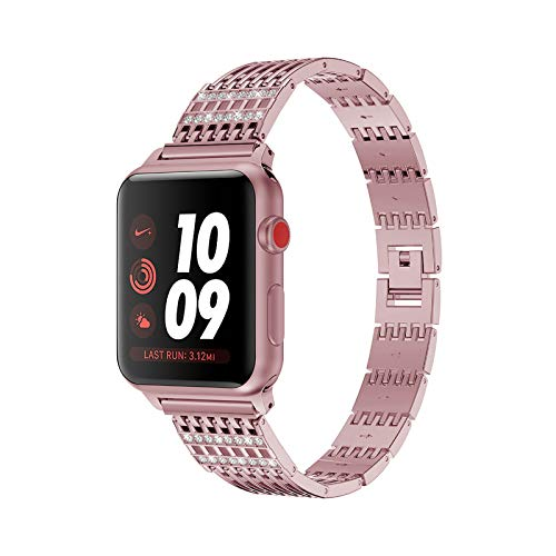 Fhony Correas de Recambio Pulseras Compatible con Apple Watch 38mm 40mm 42mm 44mm Correas de Reloj Bandas de Reloj de Diamantes de Acero Inoxidable para Iwatch Series 6 5 4 3 2 1 SE,Rosado,38/40mm