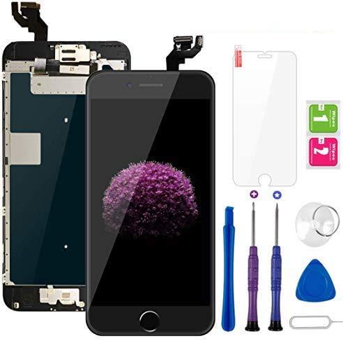 """Display per iPhone 6S Plus Schermo Touch Screen Nero LCD Vetro 5,5"""" Digitizer Parti di Ricambio (con Home Pulsante, Fotocamera, Sensore Flex) Kit Smontaggio trasformazione Completo di Ricambio"""