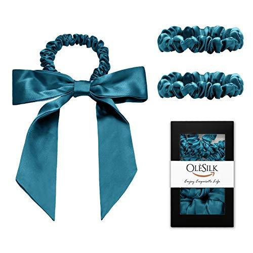 OLESILK 3er-Set 100% Seide Haargummis Kleine Scrunchies Haarschmuck Zopfgummi Haare Ringe Elastische Haarbänder Gummibänder mit Schleife, Pfaublau