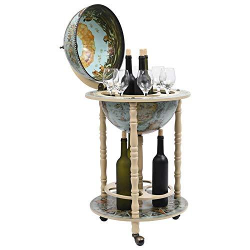Irfora Hausbar Globusbar Weltkugel Minibar Holz mit Rollen Flaschenregal Barwagen Barschrank Weinregal Globus Bar Tischbar, Eukalyptusholz Blau und Weiß