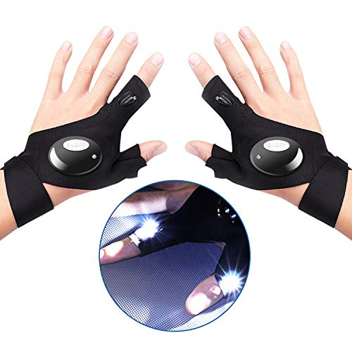 LED Flashlights Gloves, Fingerless LED Glove Set for Men/Women Gadgets Gifts Hand Free Flashlight Glove Working in Darkness for Outdoor Night Reading,Handyman,Fishing,Running