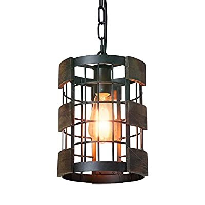 "Eumyviv 1 Light Wood Farmhouse Kitchen Pendant Light, 7.8"" Circular Industrial Mesh Cage Rustic Chandelier Vintage Edison Ceiling Island Lighting Fixture, Brown Wood & Black Metal(P0048)"