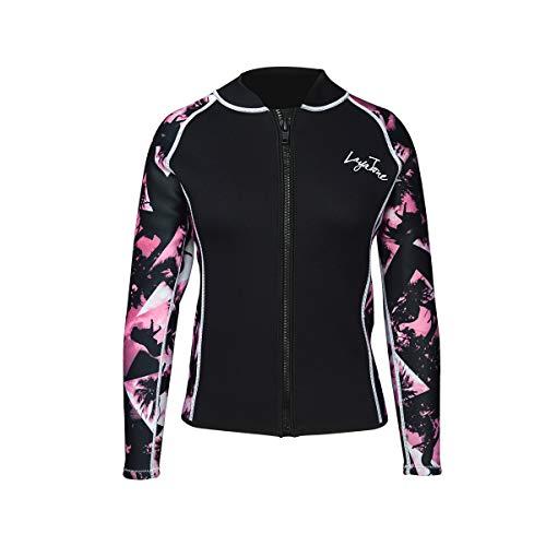 Layatone Wetsuits Top Women Men 3mm Neoprene Jacket Tops Diving Surfing Suit Rash Guard Long Sleeevs Front YKK Zipper Wet Suits Jacket Top Adults (Pink-Lycra Sleeve,2XL)