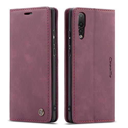 mvced Cover per Huawei P20 PRO,Flip Custodia Caso Libro Pelle PU e TPU Silicone Antiurto,Wine Red
