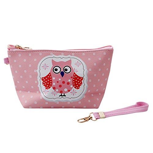 ODN Eule Schminkbeutel Kosmetik-Tasche Owl Täschchen Federmappe Geschenk Beutel Mädchen,Pink