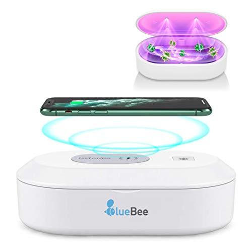 BLUEBEE - Esterilizador UV LED y Ozono, Carga inalámbrica Qualcomm Quick Charge 3.0, Caja de desinfección Ultravioleta para Móvil, Mascarillas, Gafas, Joyería y Objetos pequeños