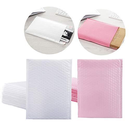Sobres Burbujas Embalaje Sobres De Plástico De Burbujas De Polietileno Forrado Bubble Envelope 25 Pcs Sobres Envio Acolchados Autoadhesivos Impermeable 30 x 25cm y 30 x 32cm Rosa y Blanco