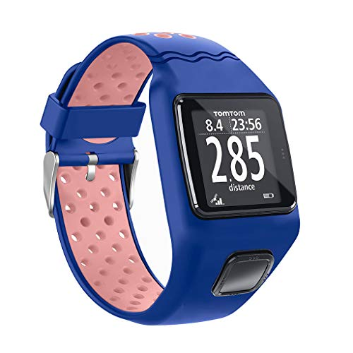 kdjsic Shockproof Soft Silicone Watchband Wrist Strap Bracelet Replacement for TomTom 1 Multi-Sport GPS HRM CSS AM Cardio Runner Watch Accessories