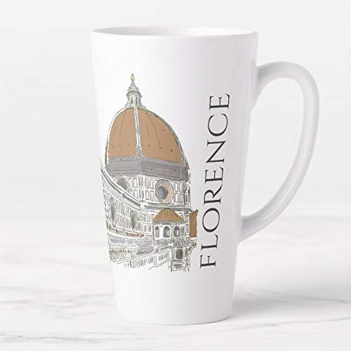 Taza de café con tapa y cuchara, diseño de The Duomo Cathedral de Florencia Italia con bolígrafo y tinta, taza de café con leche y taza de té