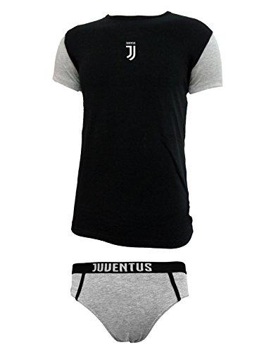 Juventus Coordinato Ragazzo Slip + t-Shirt Girocollo Cotone Elasticizzato Prodotto Ufficiale Juve Art. JU12056 (14 Anni, Nero)