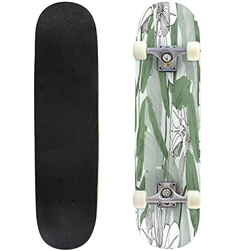"""Botanical Seamless Pattern Banana Leaves Vines and Other Leaves on Skateboard 31""""x8"""" Double-Warped Skateboards Outdoor Street Sports Skateboard for Beginners Professionals Cool Adult Teen Gifts"""
