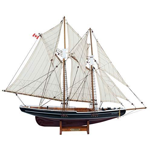 Figura Decorativa Marinera de Madera y Textil Barco Velero Bluenose. Adornos y Esculturas. Decoración Hogar. Marino. Regalos Originales. 81 x 13 x 65 cm