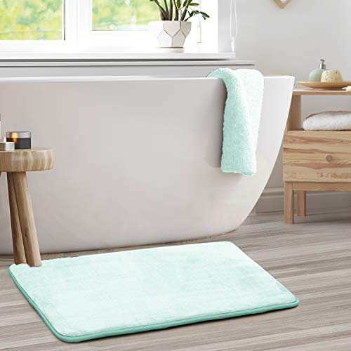 Clara Clark Memory Foam Bath Mat Set - Non Slip, Absorbent, Soft Bath Rug Set - Fast Drying Washable Bath Mat - Aqua - Large Size 20