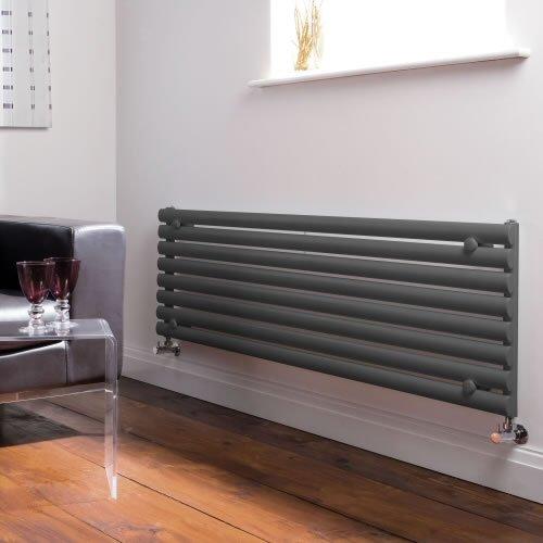 Milano Radiador de Diseño Horizontal - Antracita - 472mm x 1600mm x 56mm - 1304 Vatios - Revive
