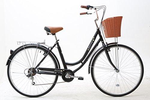 Sunrise Cycles Women's Spring 6 Speeds Ladies and Girls Dutch Style City Bike Lightweight, Black, 700C